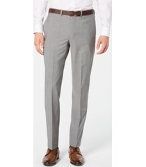 dkny men's modern-fit stretch light gray suit pants