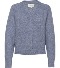 this cardigan with deep v-neck is made from a soft mohair-w stickad tröja blå second female
