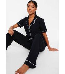 pyjama set met korte mouwen en knopen, black