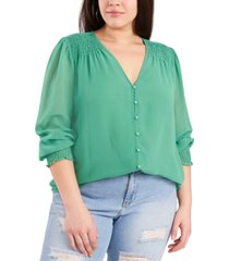 1.state trendy plus size sheer long-sleeve top