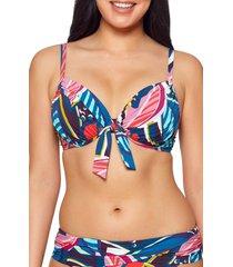bleu by rod beattie absolutely fabulous tie front underwire bikini top, size 38dd in blue multi at nordstrom