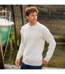 men's honeycomb blasket irish aran sweater natural large