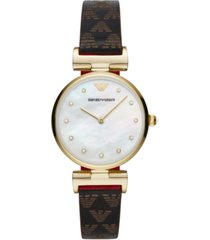 emporio armani women's logo leather strap watch 32mm