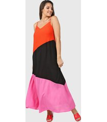 vestido naranja vindaloo tricolor