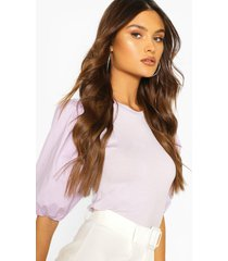 big sleeve cotton mix and jersey blouse, lilac