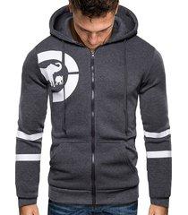 animal pattern zip up hoodie