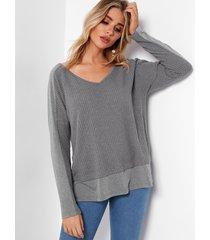 grey stitching design v-neck long sleeves t-shirt