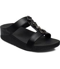 fino circle h-bar slides shoes summer shoes flat sandals svart fitflop
