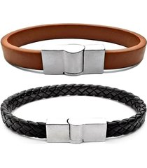 2 bracelete gafeno acessórios de couro preto/marrom