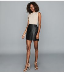 reiss eliza - leather mini skirt in black, womens, size 14