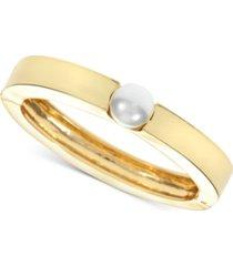 alfani gold-tone imitation pearl bangle bracelet, created for macy's