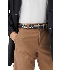 men's burberry mack check leather & canvas belt, size 110 eu - archive beige/black