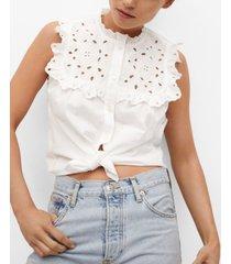mango women's swiss embroidery cotton blouse
