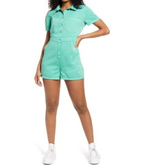 bp. utility button front romper, size xx-small in green marine at nordstrom