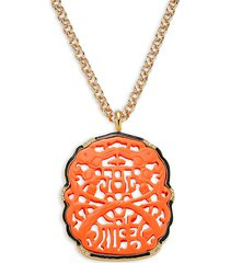 kenneth jay lane women's carved coral pendant necklace