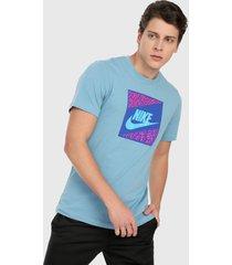 camiseta azul-fucsia nike nsw tee