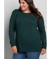 lane bryant women's pointelle-yoke sweater 14/16 green