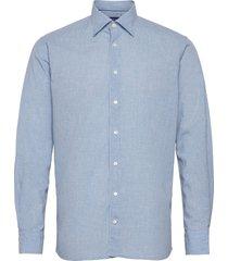 contemporary fit blue cotton linen poplin shirt skjorta casual blå eton
