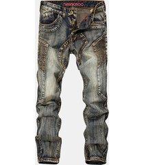 biker patchwork fold stone jeans lavati per uomo