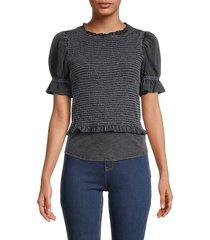 design 365 women's short-sleeve ruffled top - black - size m