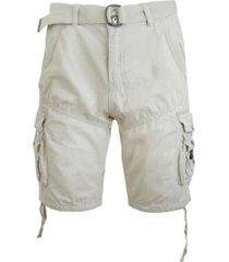 galaxy by harvic men's belted cargo shorts with twill flat front washed utility pockets