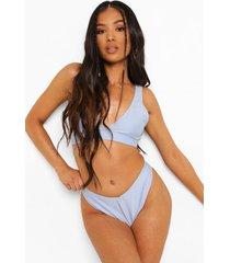 petite mix & match bikini top met laag decolleté, blue