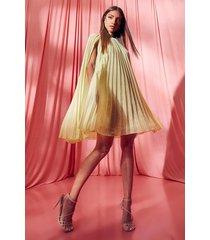 geplooide swing jurk met cape, lemon