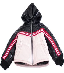gcds pink and black logo padded coat