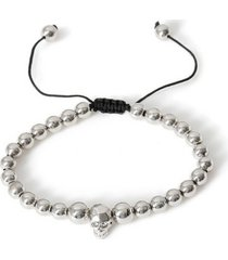 mens metallic silver bead bracelet*