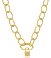 colar maxi elos mosquetão com cadeado folheado a ouro 18k