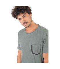 camiseta com bolso em silk taco masculina