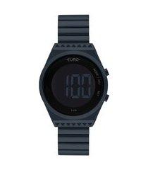 kit de relógio euro feminino digital - eubjt016aek4a + lentes azul