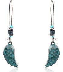 orecchini a forma di piuma bohémien blu verde orecchini pendenti in foglia di fiore per donne