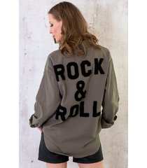 rock n roll blouse legergroen