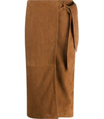 arma wrap goat suede skirt - brown