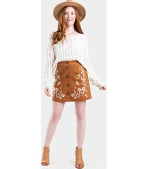yvonne embroidered button skirt - brown