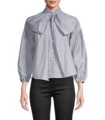 avantlook women's bow-neck blouse - stripe - size m
