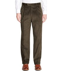 men's berle pleated classic fit corduroy trousers, size 32 x unhemmed - green