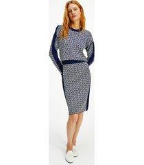 tommy hilfiger women's monogram cube pencil skirt th cube yale navy / breezy blue - xl