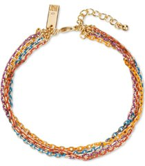 inc gold-tone multicolor coated link multi-strand ankle bracelet, created for macy's