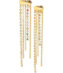 steve madden gold-tone multicolor crystal chain-fringe statement earrings