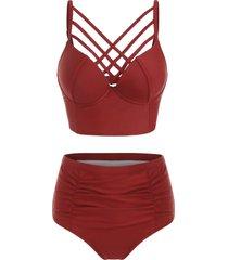 high waist criss cross bikini set