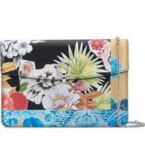 salvatore ferragamo bolsa tiracolo com padronagem floral - preto