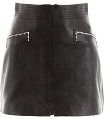 miu miu leather mini skirt with crystals