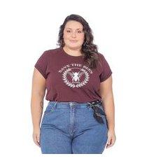 t-shirt feminina estampa de abelha - marrom - xlg