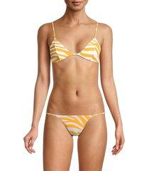 bond-eye women's comeback triangle bikini top - golden - size l