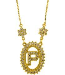 colar horus import letra p zircônias dourado