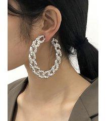 pendientes de aro abiertos con cadena exagerada con decoración de diamantes de imitación