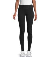 hard tail women's star-print cotton-blend leggings - black - size xs