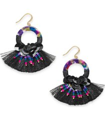 inc gold-tone sequin, bead, multicolor ring & fringe drop earrings, created for macy's